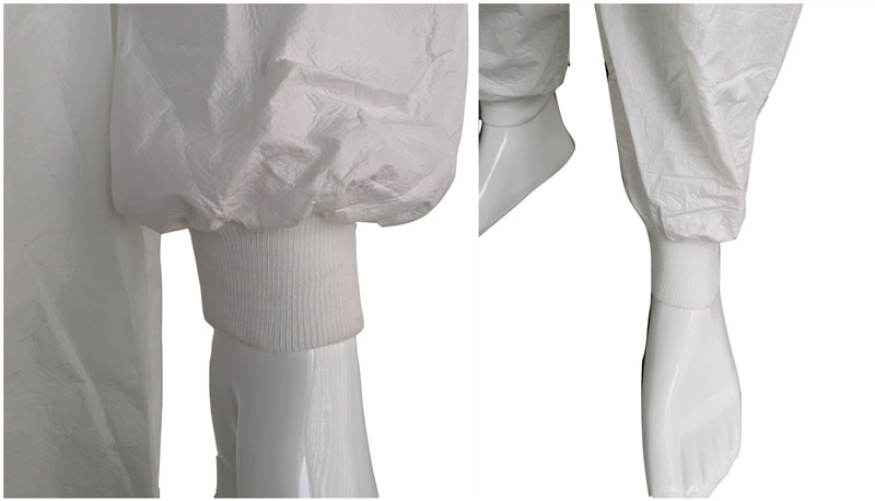 disposable non woven coverall with knit cuffs