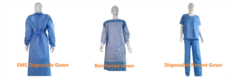 disposable gowns by SMS nonwoven