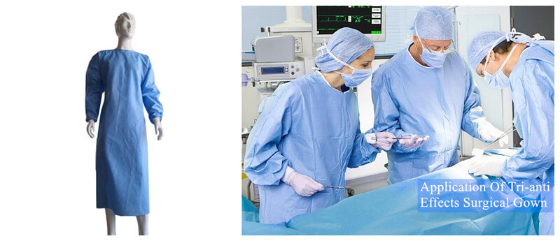 tri-anti-effects surgical gown with CE and ISO