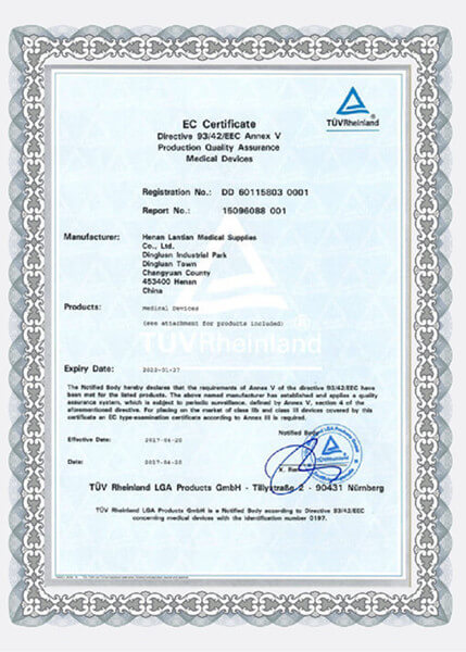 Lantian Medical CE Certificate